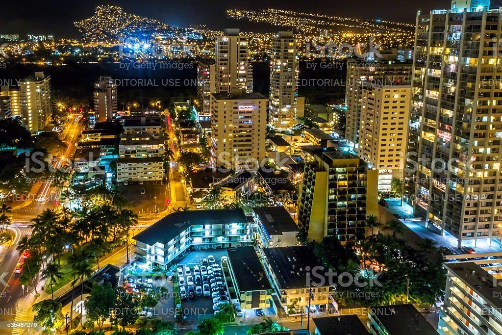 Night view of the Palolo region, Waikiki, Honolulu, Hawaii, USA stock photo