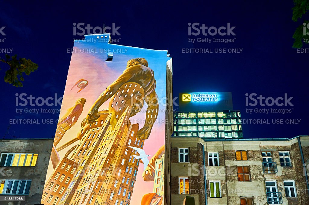 Warsaw, Poland - May 25, 2016: Night view of The stock photo