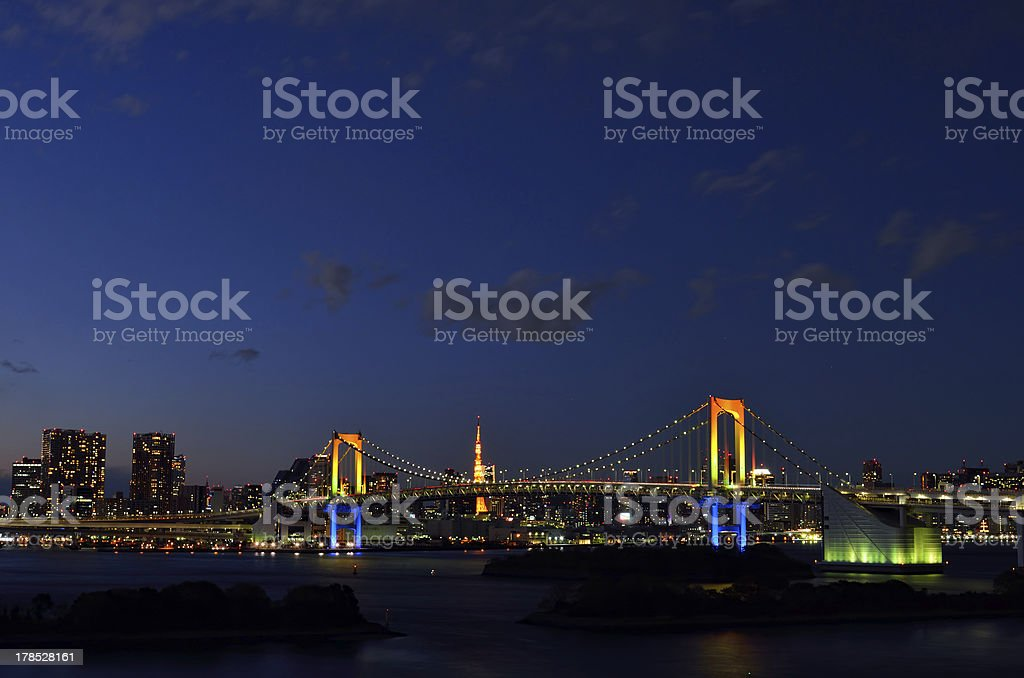 Night view of the Rainbow Bridge. royalty-free stock photo