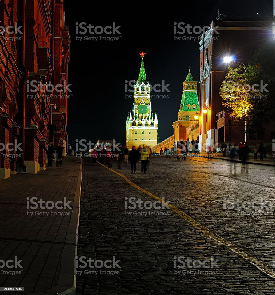Night view of the Red Square and Spasskaya Tower stock photo