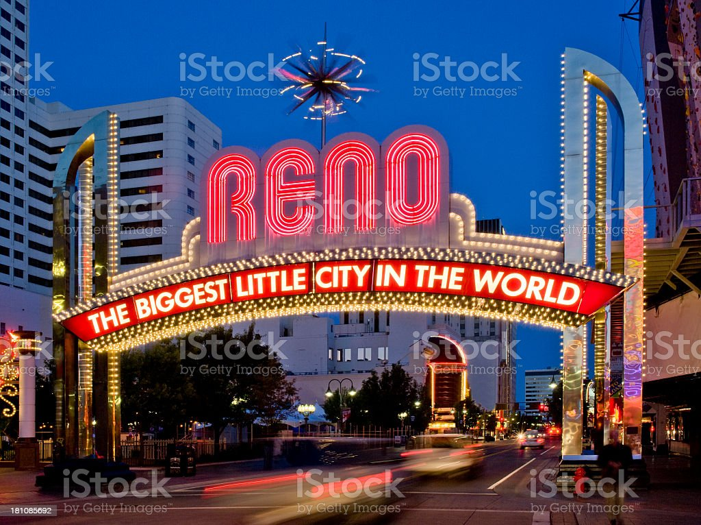 A night view of the Reno welcome sign stock photo