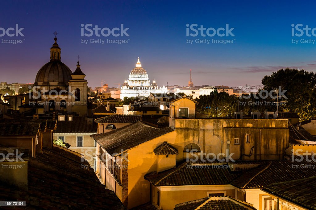 Night view of the rooftops of Rome stock photo