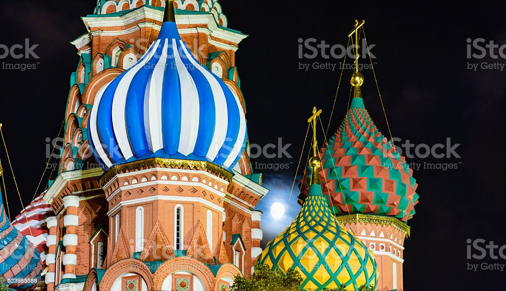 Night view of the Saint Basil's cathedral in Moscow stock photo