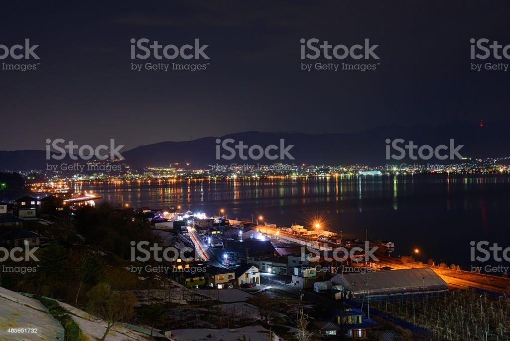 Night View of the Suwa city stock photo