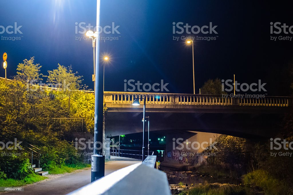 Night View Of The Town Of Oulu stock photo
