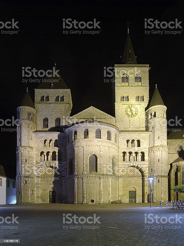 Night view of the Trier Cathedral, Germany stock photo