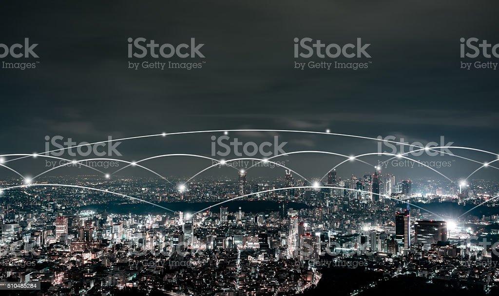 Night view of Tokyo stock photo