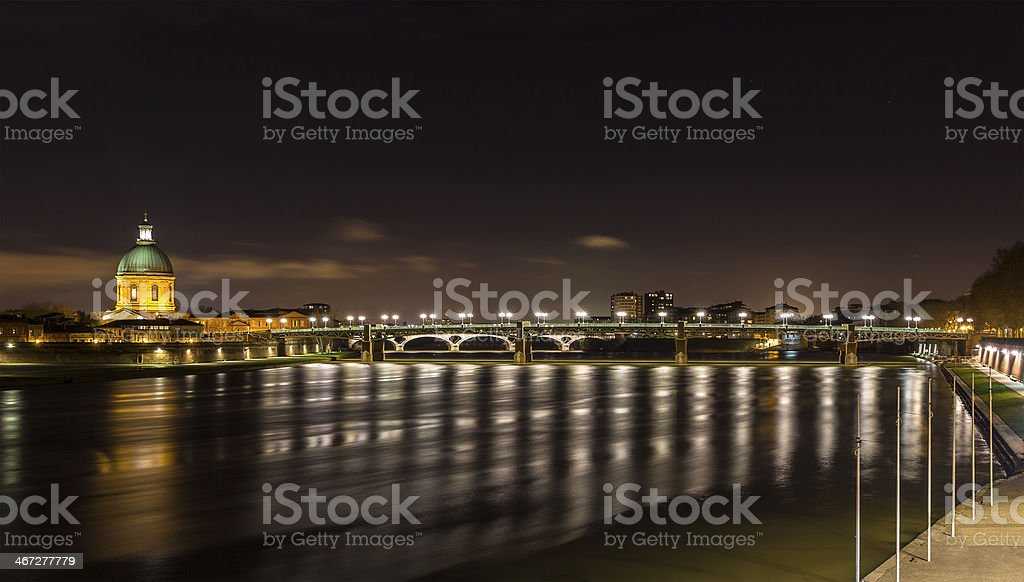 Night view of Toulouse - Midi-Pyrenees, France stock photo