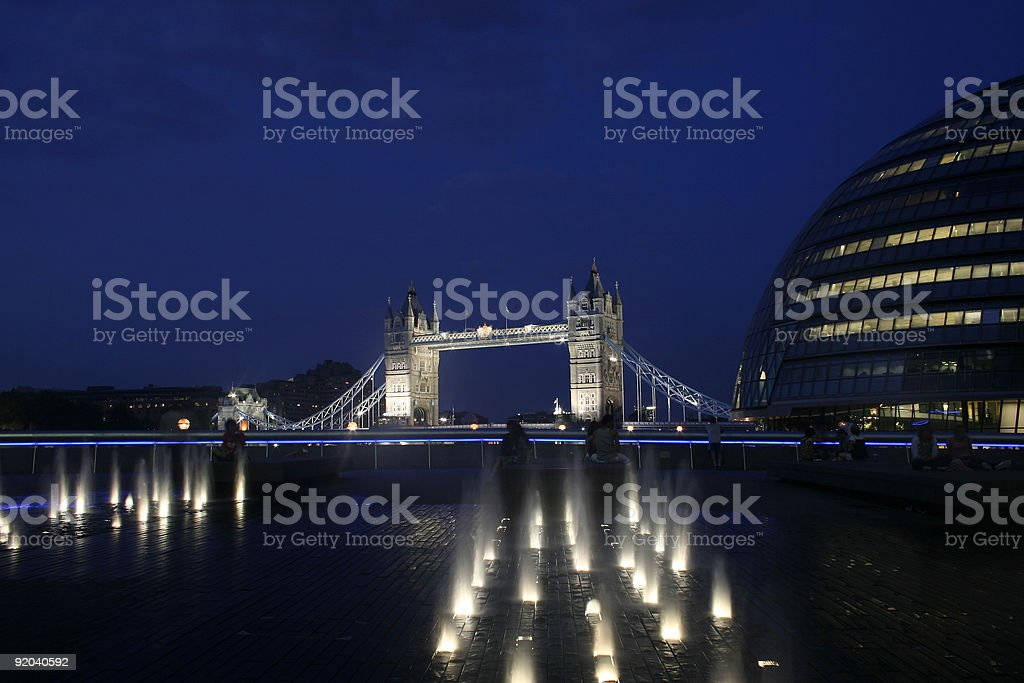 Night view of Tower Bridge and City Hall, London royalty-free stock photo