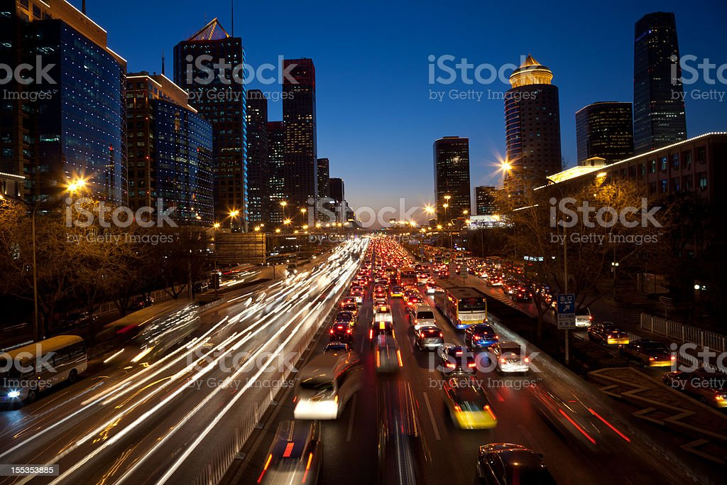 Night view of urban traffic jam in Beijing CBD royalty-free stock photo