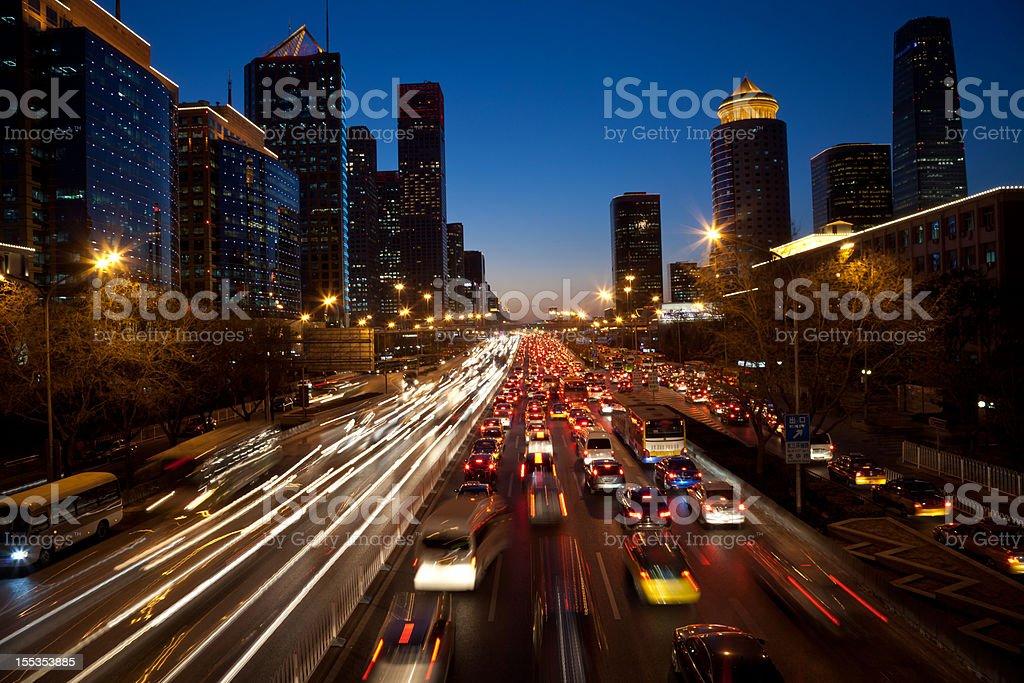 Night view of urban traffic jam in Beijing CBD stock photo