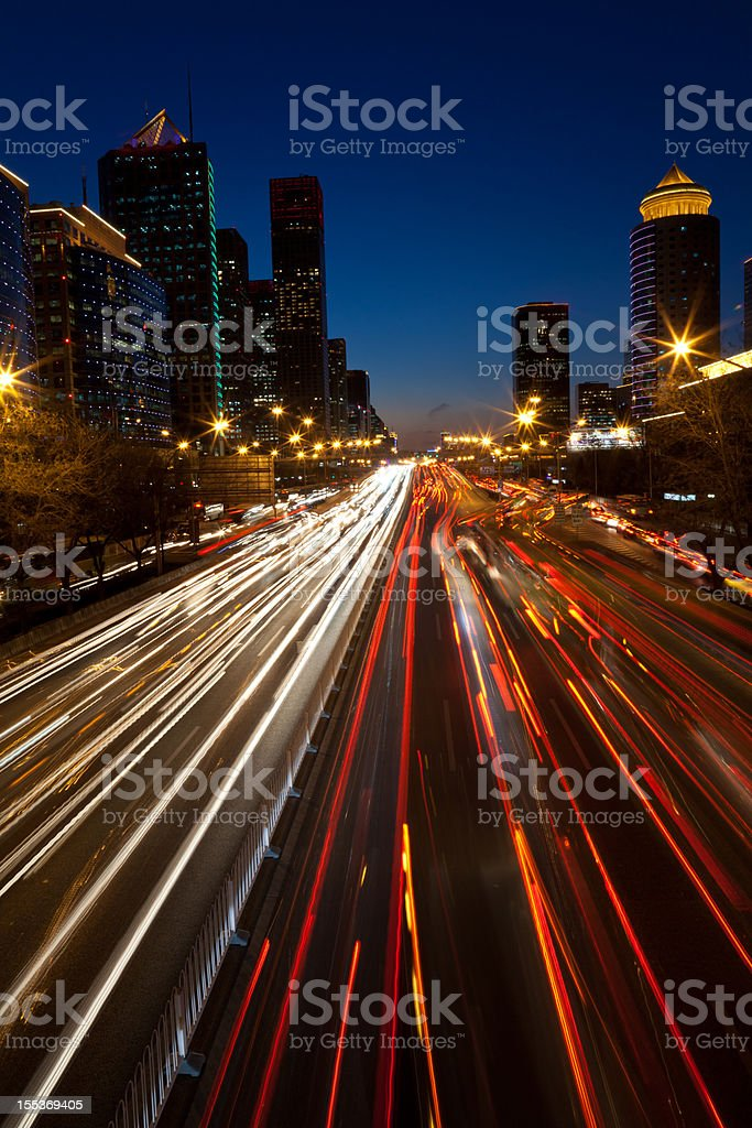 Night view of urban traffic light in Beijing CBD stock photo