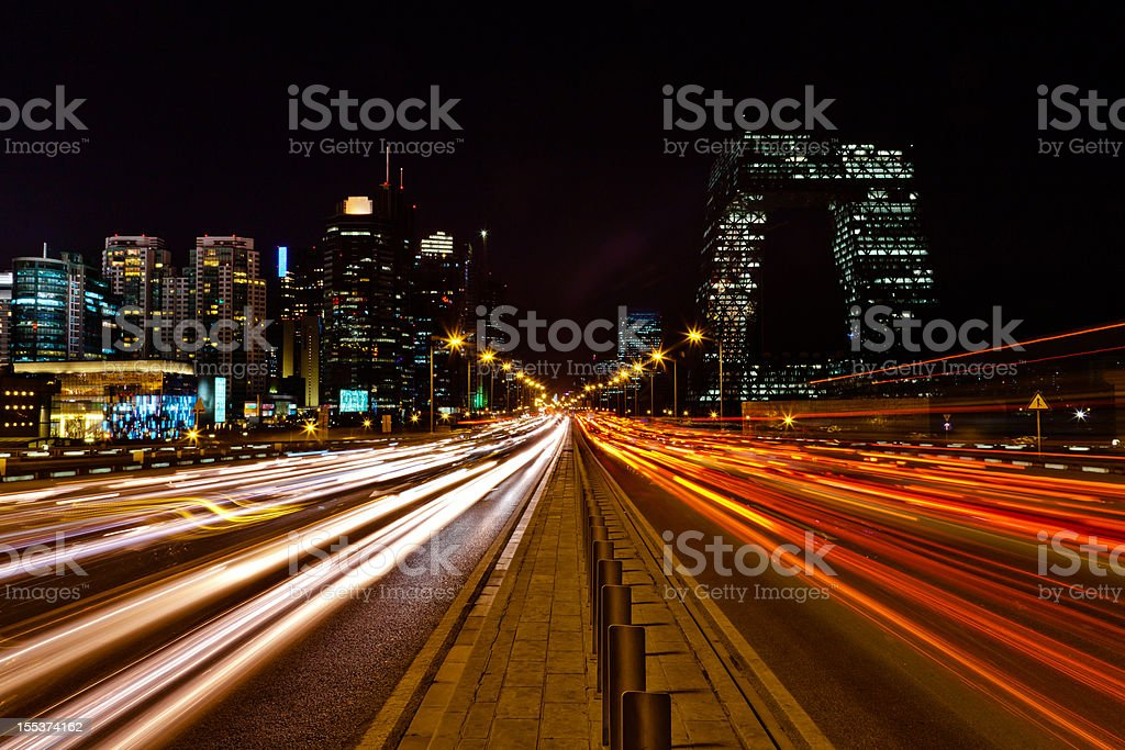 Night view of urban traffic light in Beijing CBD stock photo