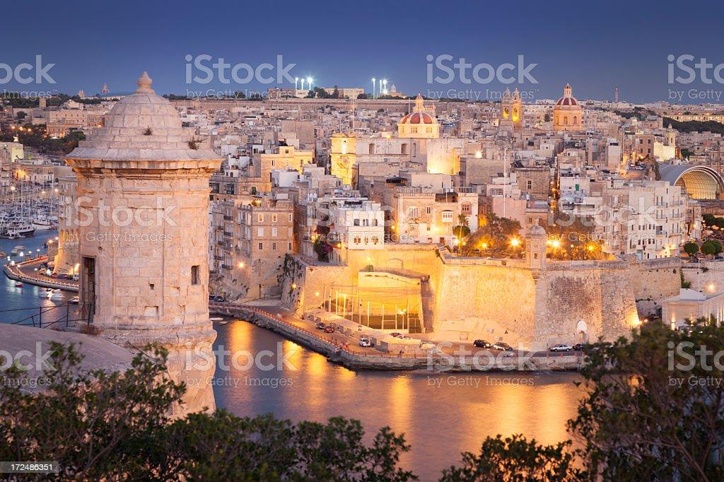 Night view of Valletta, Malta stock photo