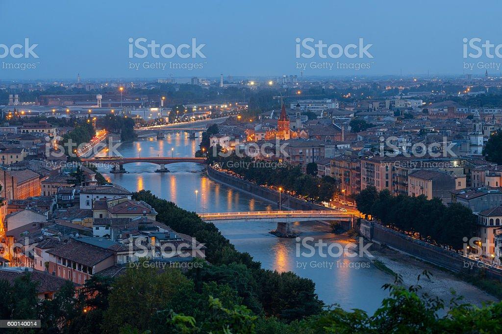Night view of Verona, Italy stock photo