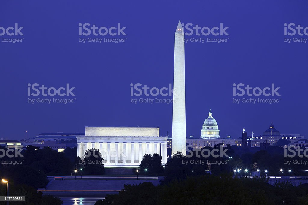 Night view of Washington DC with lights royalty-free stock photo