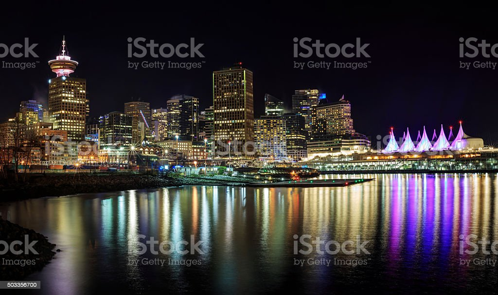Night view of waterfront downtown Vancouver stock photo