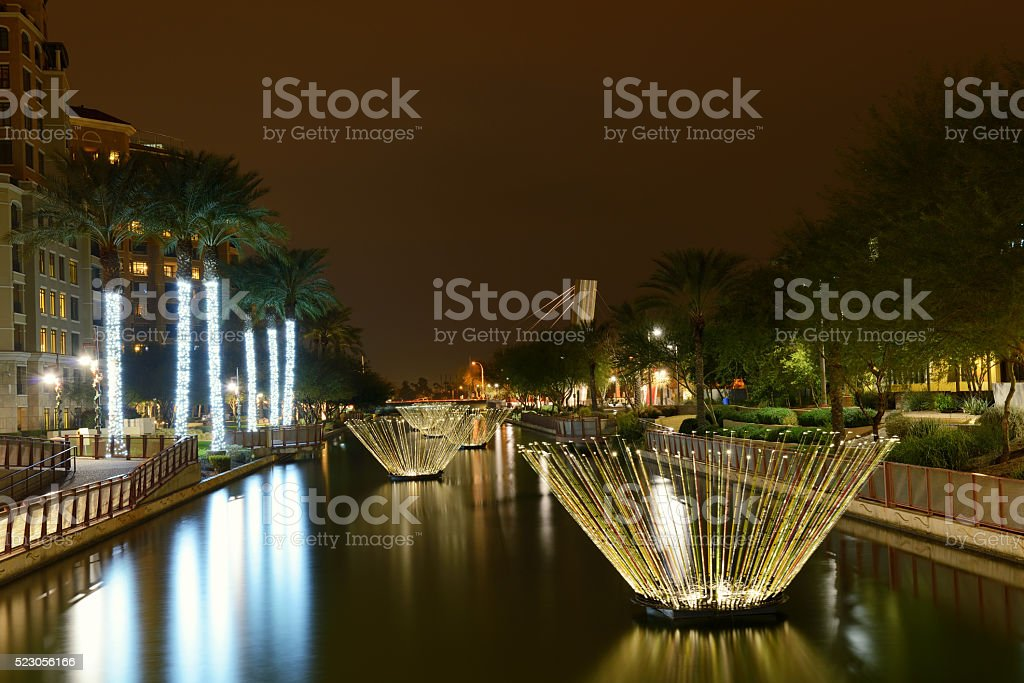 Night View of Waterfront in Downtown Scottsdale stock photo