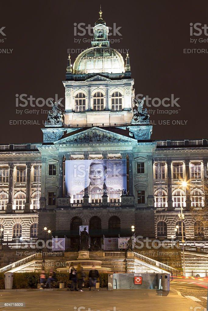 Night view of Wenceslas Square, Czech Republic stock photo