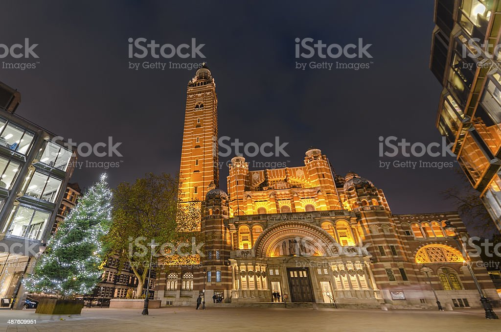 Night view of Westminister Cathedral London stock photo
