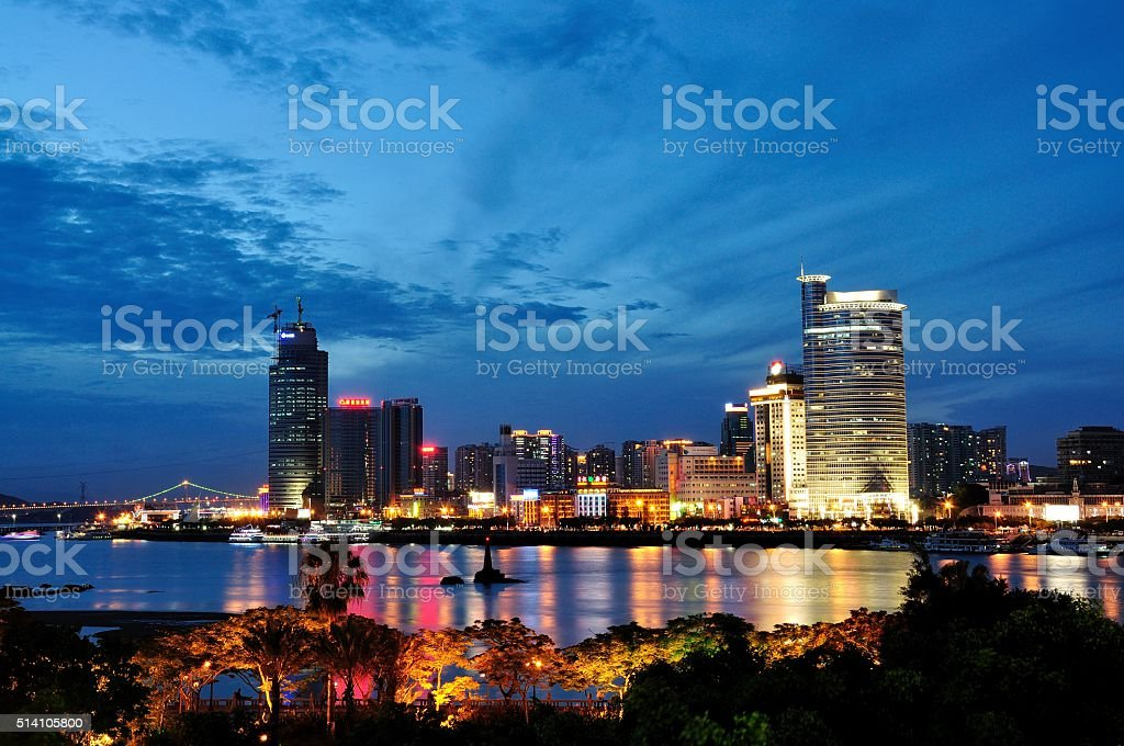 night view of Xiamen city stock photo