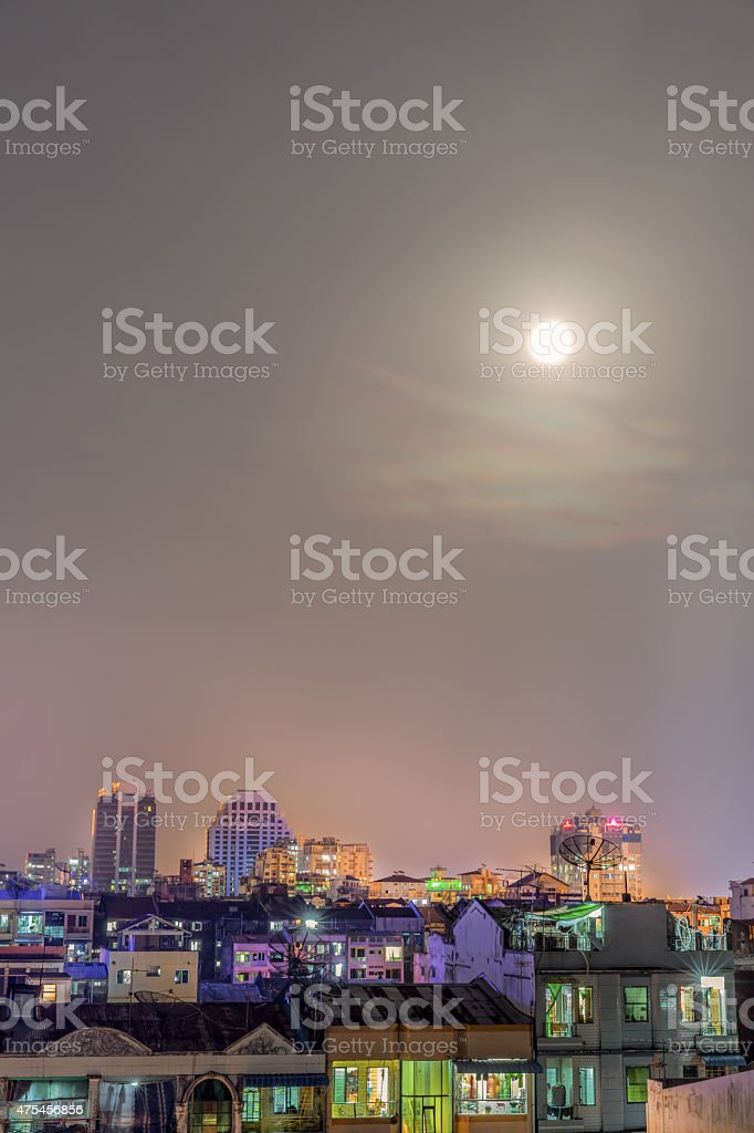 Night View of Yangon, Myanmar stock photo
