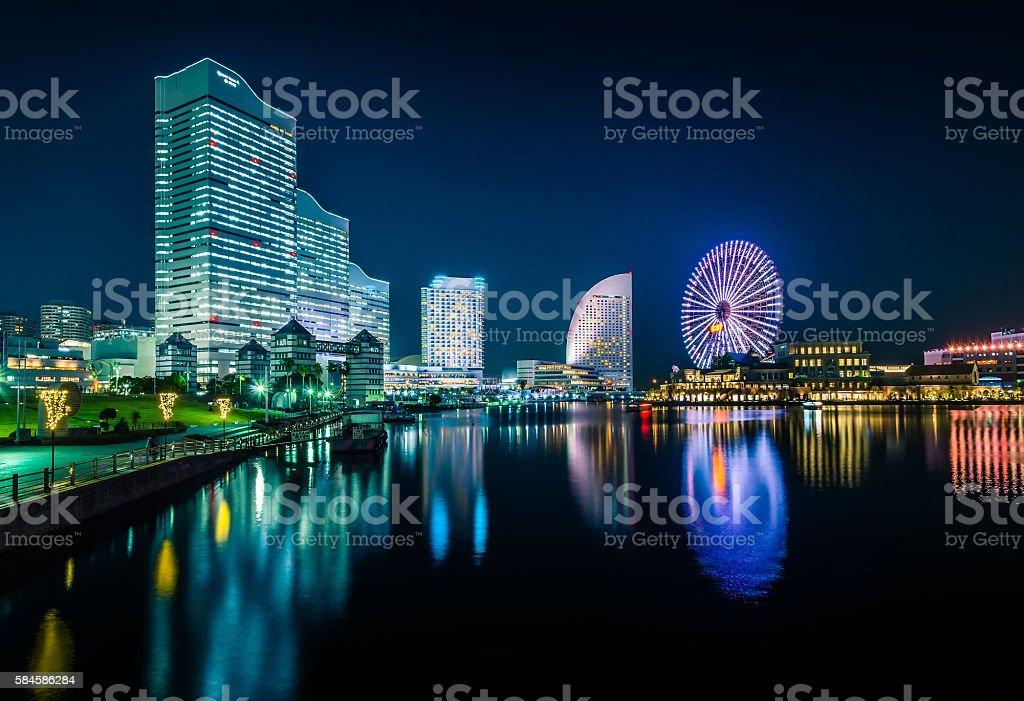 Night view of Yokohama Cityscape at Minato Mirai district. stock photo