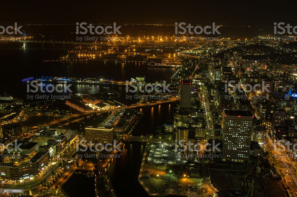 Night view of Yokohama royalty-free stock photo