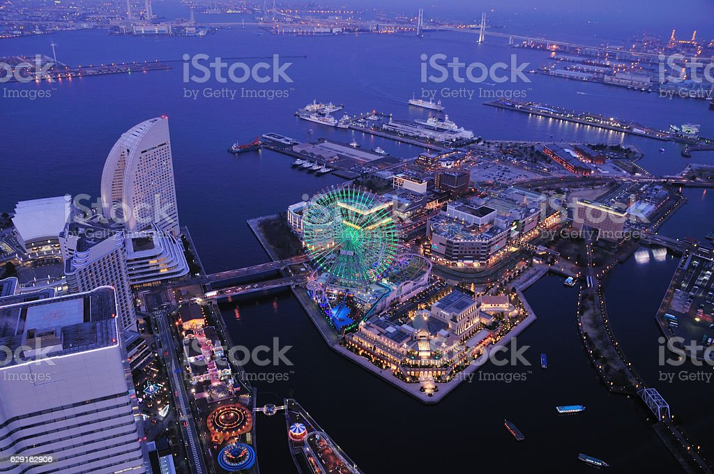 Night view of Yokohama stock photo