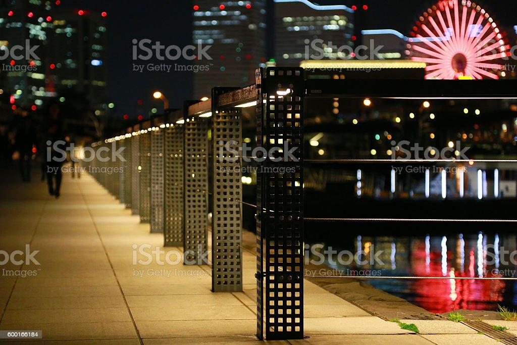 Night view of Yokohama Port foto de stock libre de derechos