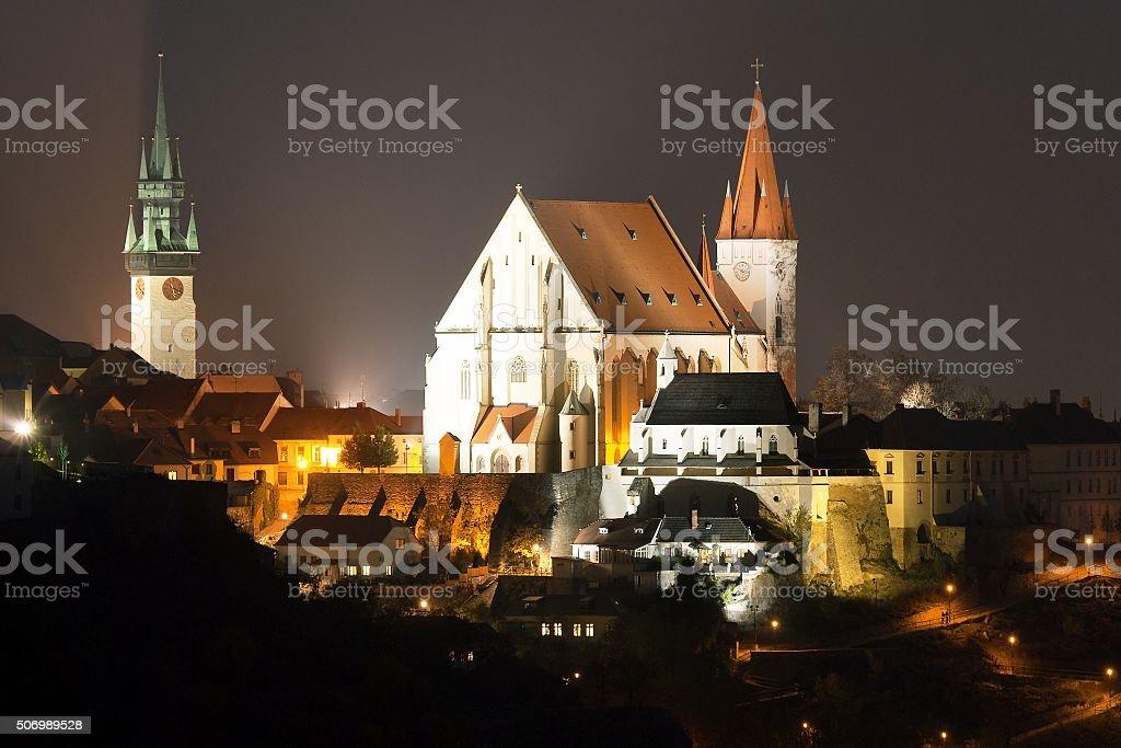 Night view of Znojmo town, Czech Republic stock photo