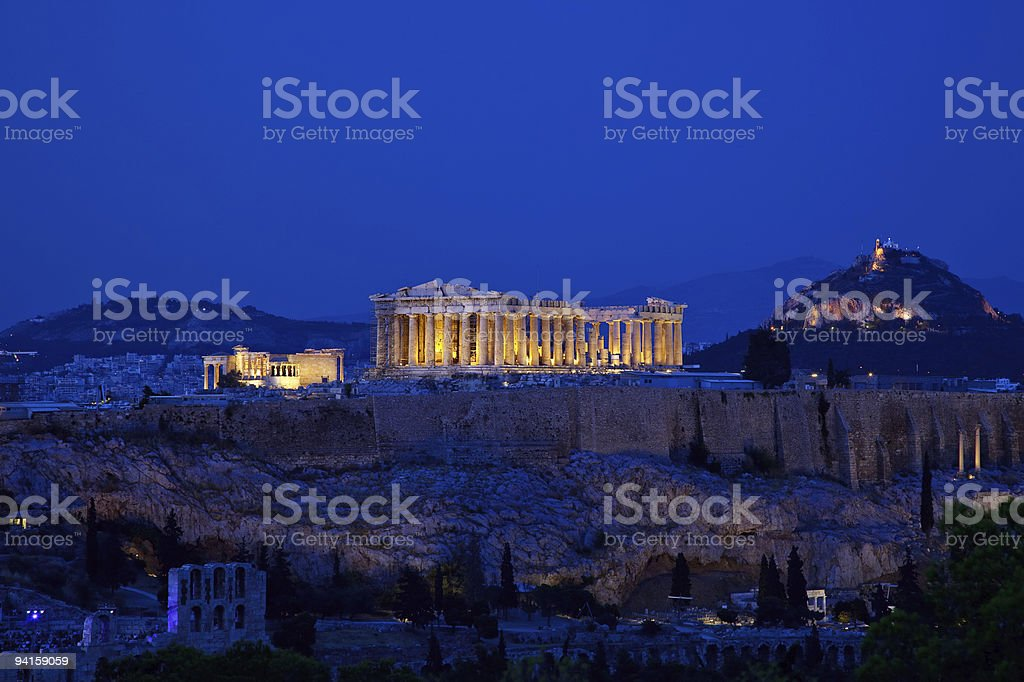 Night view on Acropolis stock photo