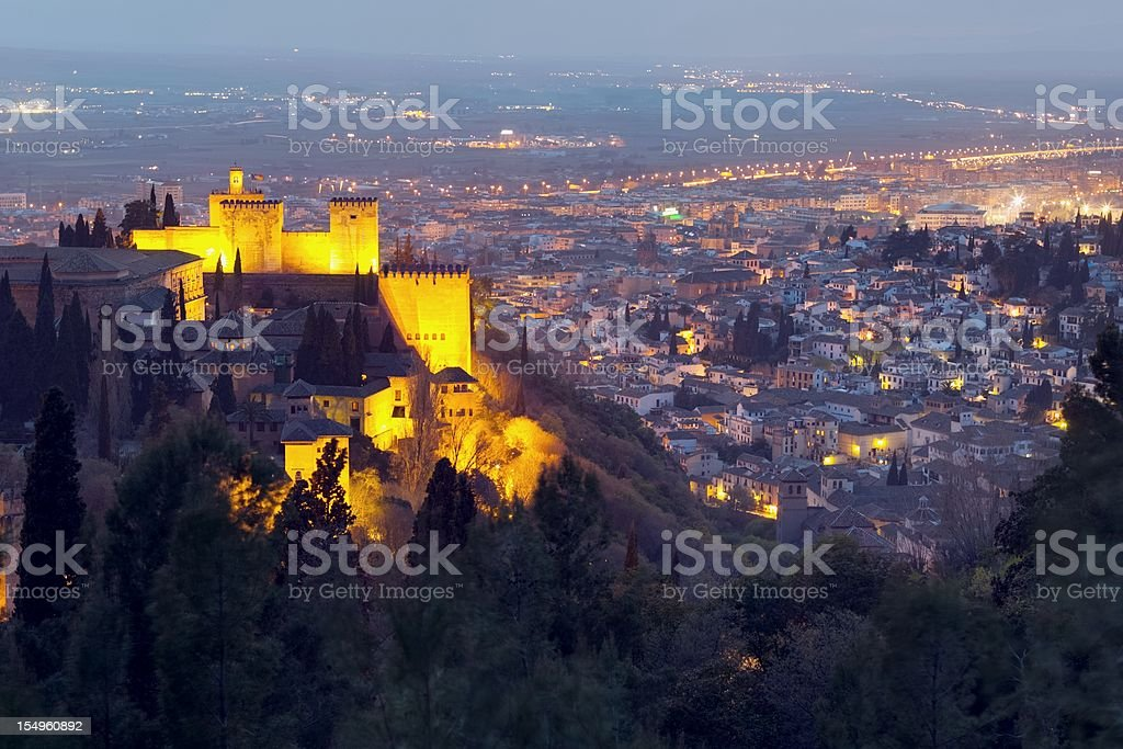 Night view on Alhambra stock photo