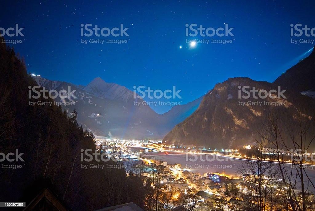 Night view on Austrian Alpes. stock photo