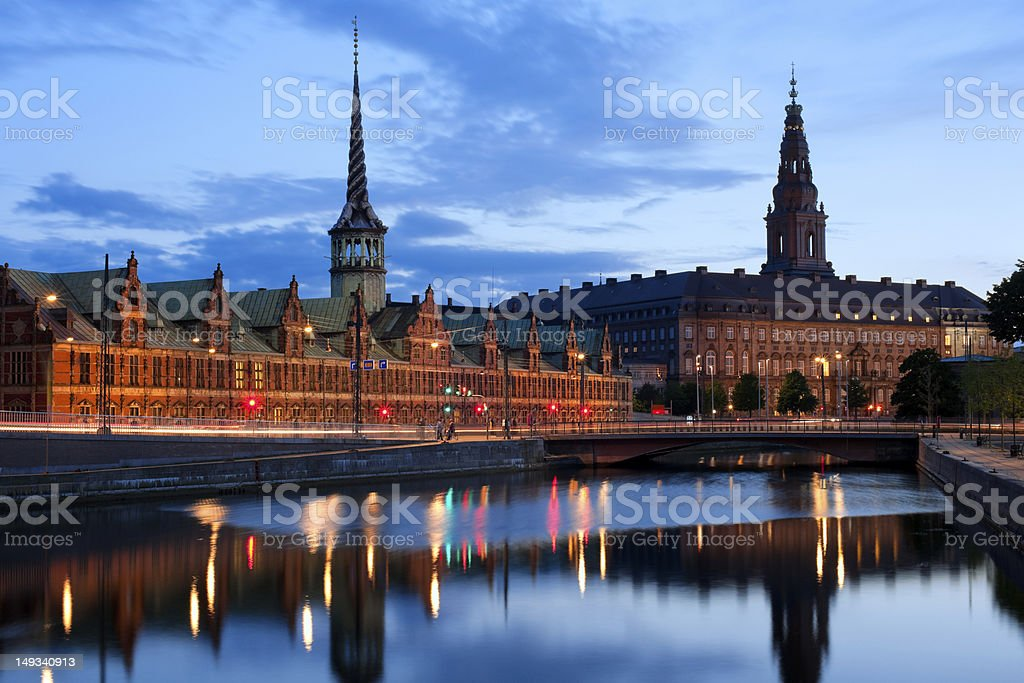 Night view on Christiansborg Palace in Copenhagen stock photo