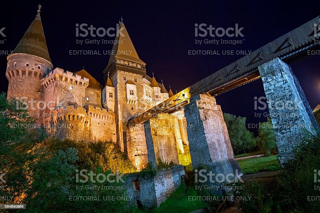 Night view on Corvin castle stock photo