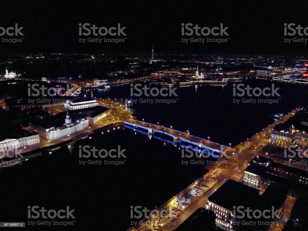 Night view on Dvortsovy bridge and Vasilievsky island stock photo