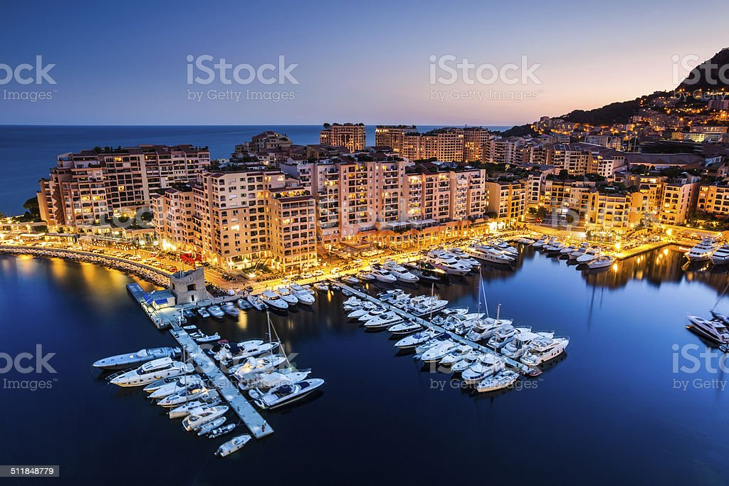 Night view on Fontvieille and Monaco Harbor stock photo