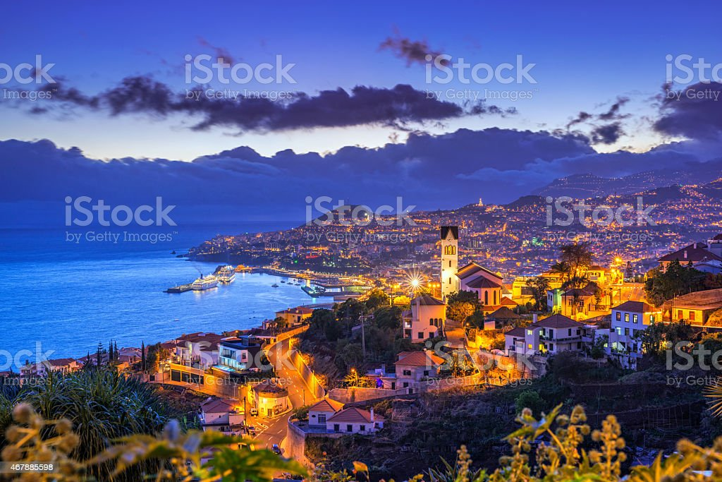 Night view on Funchal on Madeira stock photo