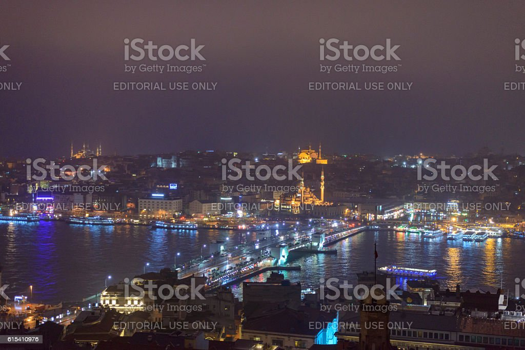 Night view on Golden Horn and Galata Bridge in Istanbul stock photo