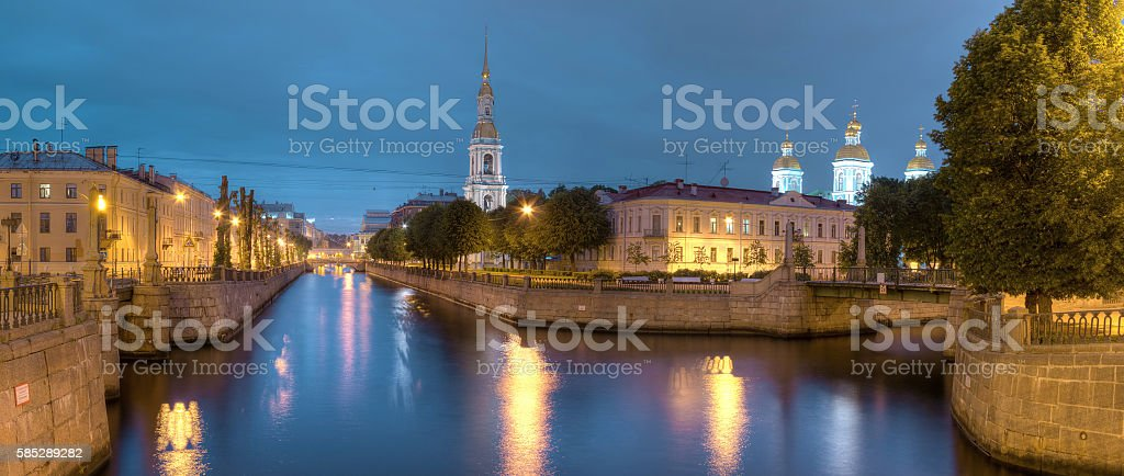 Night view on Kryukov Canal and St. Nicholas Naval Cathedral stock photo