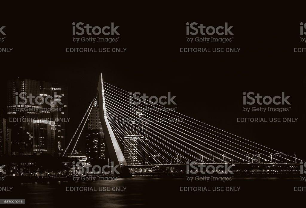 Night view on the Erasmus bridge in Rotterdam, the Netherlands stock photo