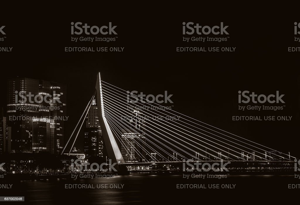 Night view on the Erasmus bridge in Rotterdam, the Netherlands stock photo