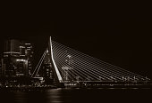 Night view on the Erasmus bridge in Rotterdam, the Netherlands