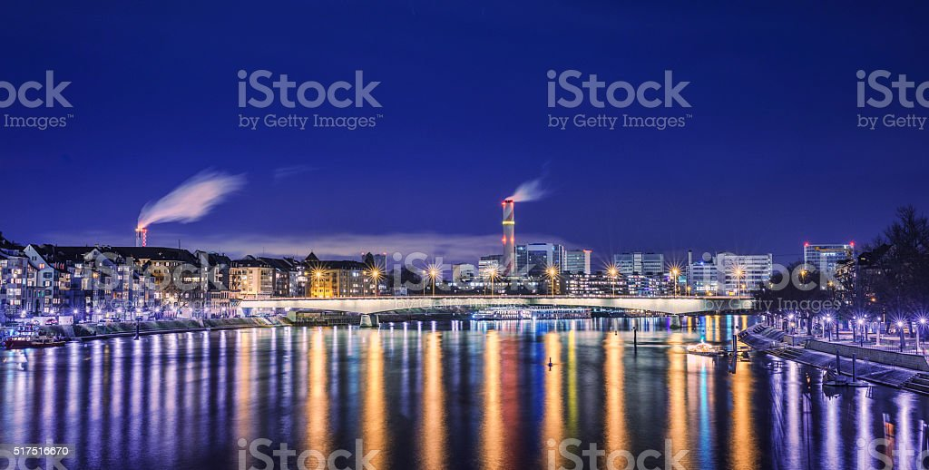 Night view over Basel and River Rhine stock photo