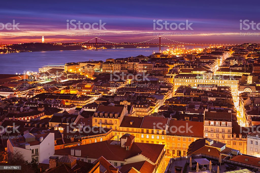 Night view over central Lisbon, Portugal stock photo