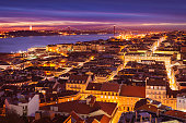 Night view over central Lisbon, Portugal