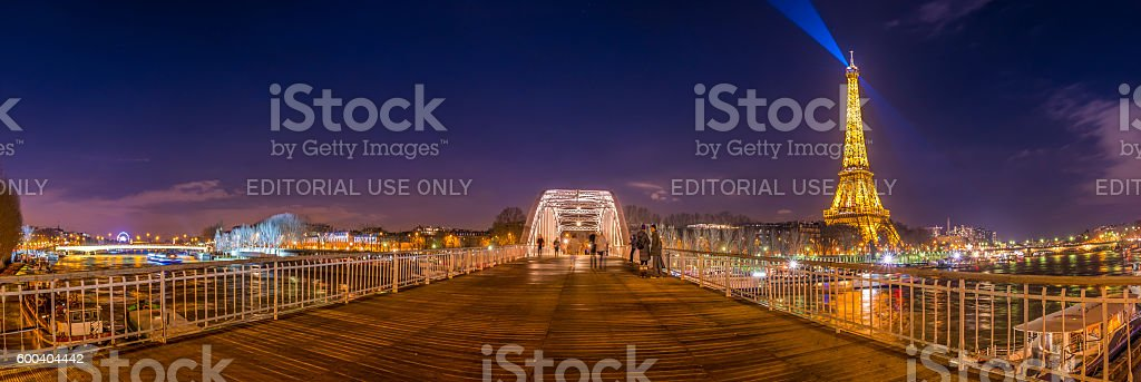 Night view over Paris from the Passerelle Debilly.. stock photo