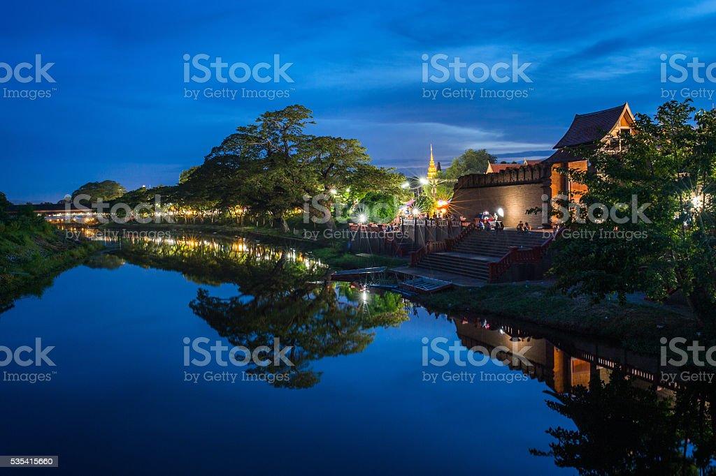 Night view the river at city of Lamphun, Thailand. stock photo