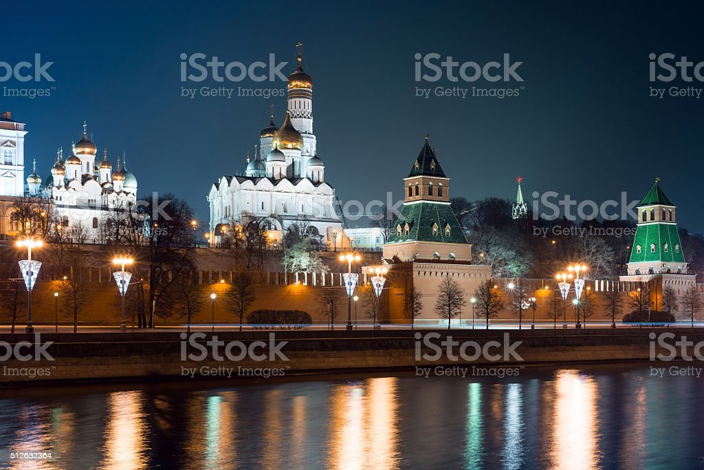 Night view to Moscow Kremlin from embankment stock photo